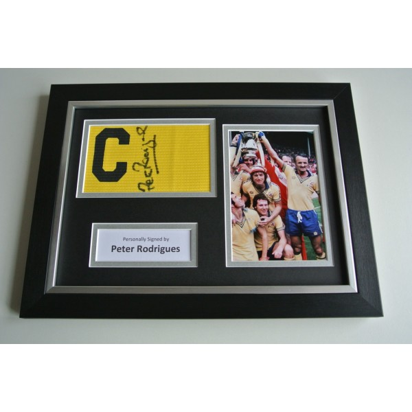 Peter Rodrigues SIGNED FRAMED Captains Armband & Photo A4 Display Southampton COA & AFTAL  Memorabilia PERFECT GIFT