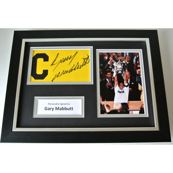 Gary Mabbutt Signed FRAMED Captains Armband A4 Photo display Spurs PROOF & COA Perfect Gift