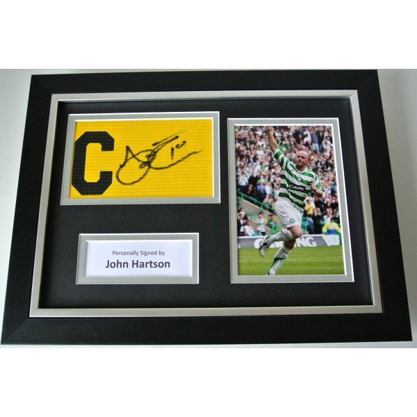 John Hartson Signed FRAMED Captains Armband A4 Photo display Celtic PROOF & COA Perfect Gift