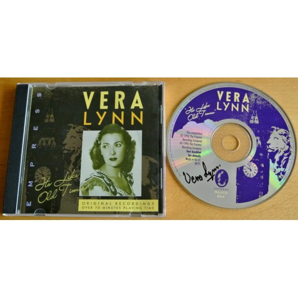 VERA LYNN HAND SIGNED AUTOGRAPH IT'S LIKE OLD TIMES CD WW2 FORCES & COA   PERFECT GIFT