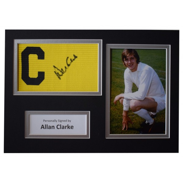 Allan Clarke Signed Captains Armband A4 photo display Leeds United Football  AFTAL  COA Memorabilia PERFECT GIFT