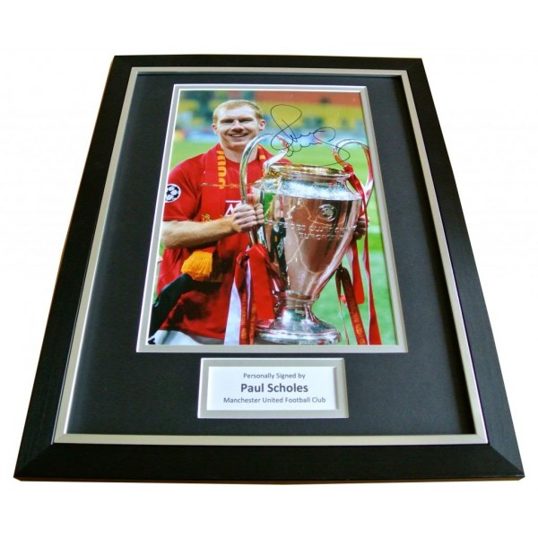 PAUL SCHOLES SIGNED & FRAMED AUTOGRAPH PHOTO MOUNT DISPLAY MANCHESTER UTD & COA