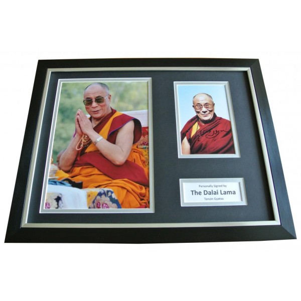 Dalai Lama Signed FRAMED Photo Autograph 16x12 Display Tenzin Gyatso & COA        PERFECT GIFT