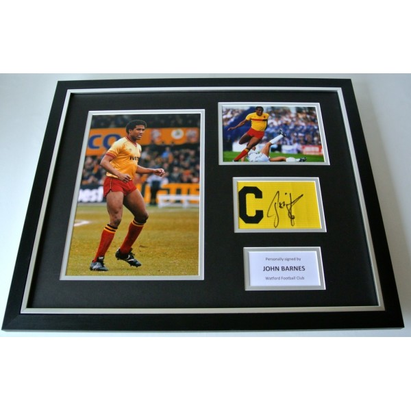 John Barnes Signed FRAMED Huge Captains Armband Photo Display Watford & COA