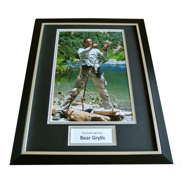 BEAR GRYLLS HAND SIGNED & FRAMED AUTOGRAPH PHOTO DISPLAY SAS MAN V WILD & COA