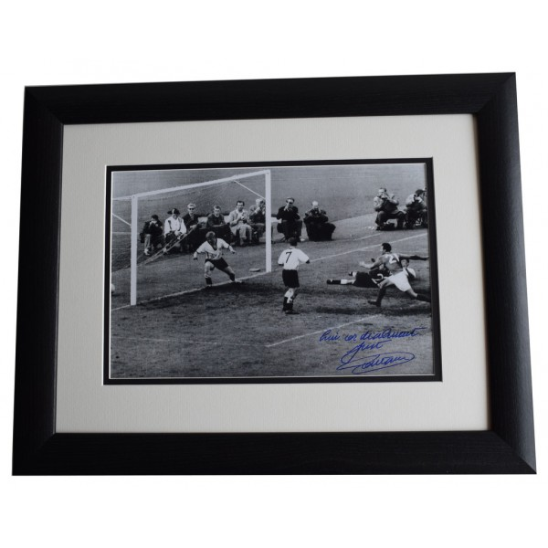 Just Fontaine SIGNED FRAMED Photo Autograph 16x12 LARGE display France AFTAL COA AFTAL MEMORABILIA