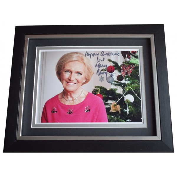 Mary Berry SIGNED 10x8 FRAMED Photo Autograph Display Bake Off Happy Christmas  AFTAL  COA Memorabilia PERFECT GIFT