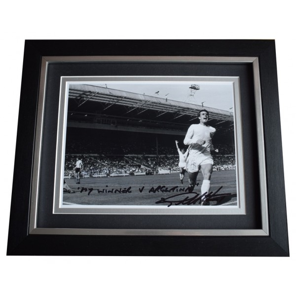Geoff Hurst SIGNED 10x8 FRAMED Photo Autograph Display England Inscription   AFTAL  COA Memorabilia PERFECT GIFT
