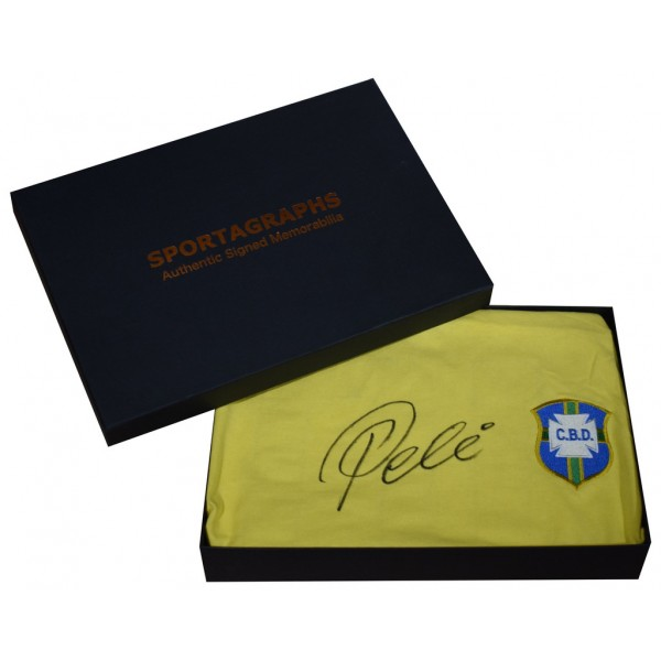 Pele SIGNED Brazil Shirt Autograph Gift Box Football New Scoredraw   AFTAL  COA Memorabilia PERFECT GIFT