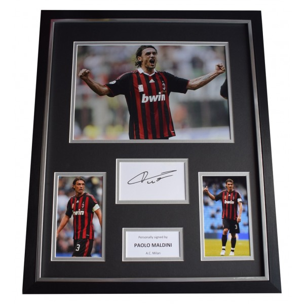 Paolo Maldini SIGNED Framed Photo Autograph Huge display AC Milan Football AFTAL  COA Memorabilia PERFECT GIFT