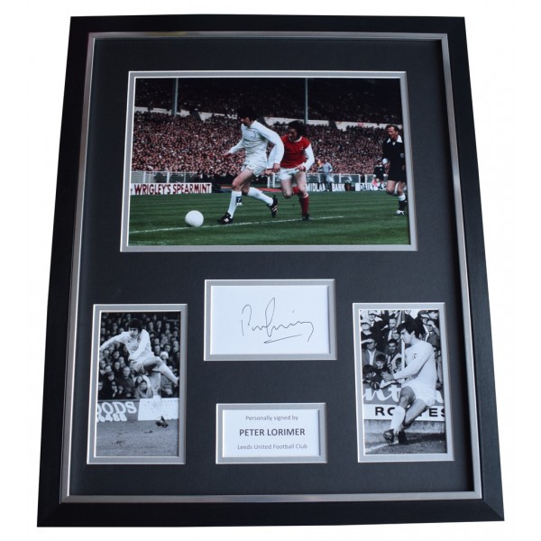 Peter Lorimer SIGNED Framed Photo Autograph Huge display Leeds United  AFTAL  COA Memorabilia PERFECT GIFT