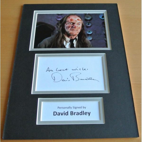 David Bradley SIGNED autograph A4 Photo Mount Display Harry Potter Film & COA AFTAL Memorabilia PERFECT GIFT