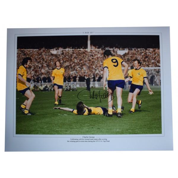 Charlie George SIGNED autograph 16x12 HUGE photo Arsenal Football  AFTAL  COA Memorabilia PERFECT GIFT