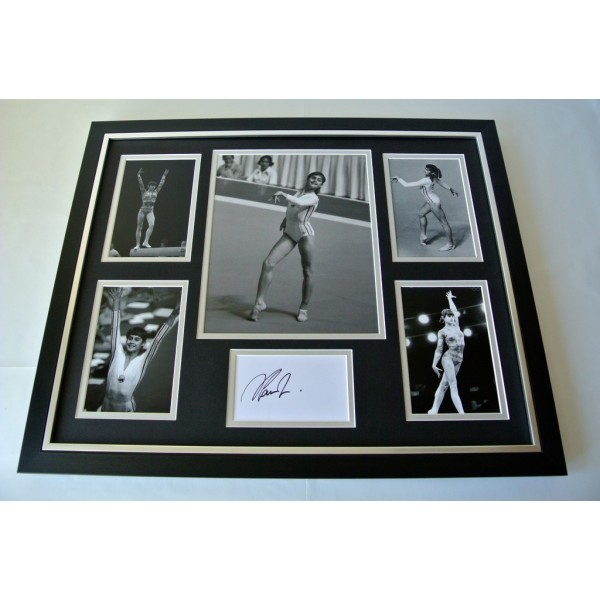 Nadia Comaneci SIGNED FRAMED Photo Autograph Huge display Olympic Gymnastics COA