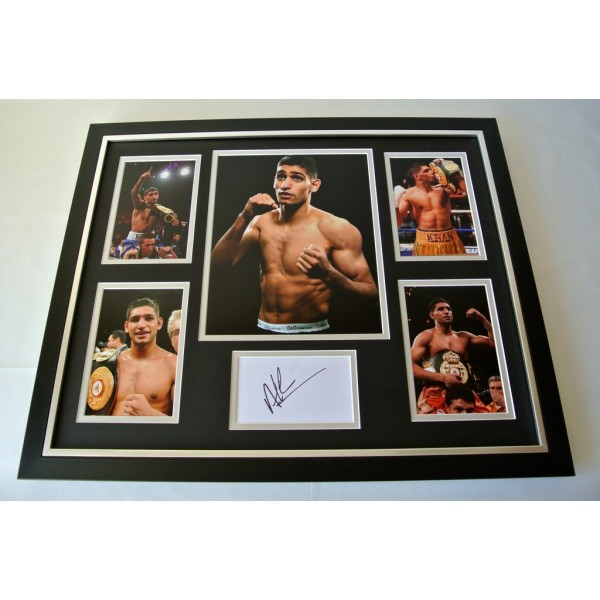 Amir Khan SIGNED FRAMED Photo Mount Autograph Huge display Boxing PROOF AFTAL & COA Memorabilia PERFECT GIFT