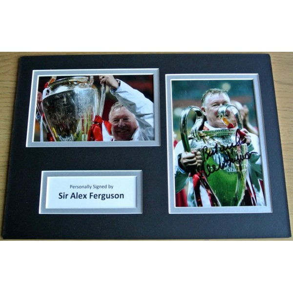 ALEX FERGUSON HAND SIGNED AUTOGRAPH A4 PHOTO DISPLAY MAN UNITED GIFT & COA
