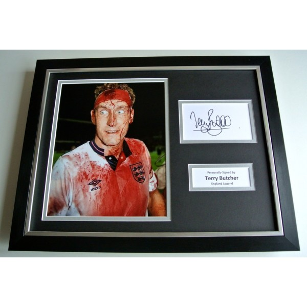 Terry Butcher SIGNED FRAMED Photo Autograph 16x12 display England Football COA & AFTAL Memorabilia PERFECT GIFT
