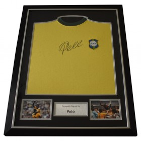 Pele SIGNED FRAMED Shirt Photo Autograph Scoredraw Brazil Football  AFTAL  COA Memorabilia PERFECT GIFT