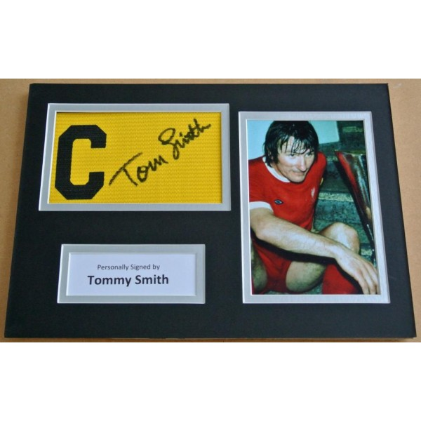 Tommy Smith Signed Captains Armband A4 Photo Display Liverpool PROOF  AFTAL & COA Memorabilia PERFECT GIFT