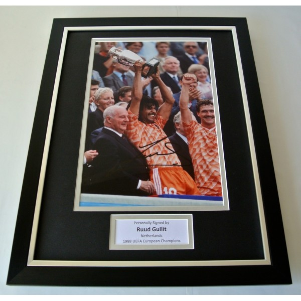 Ruud Gullit SIGNED FRAMED Photo Autograph 16x12 display Holland 1988 PROOF & COA