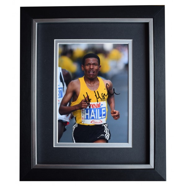 Haile Gebrselassie SIGNED 10x8 FRAMED Photo Autograph Display Athletics AFTAL  COA Memorabilia PERFECT GIFT