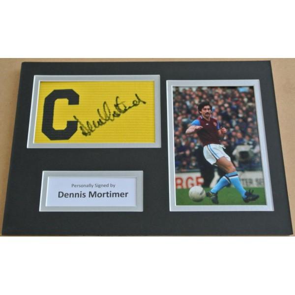 Dennis Mortimer Signed Captains Armband A4 Photo Display Aston Villa PROOF  AFTAL & COA Memorabilia PERFECT GIFT