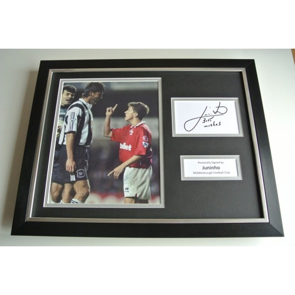 Juninho SIGNED FRAMED Photo Autograph 16x12 display Middlesbrough Football COA & AFTAL Memorabilia PERFECT GIFT