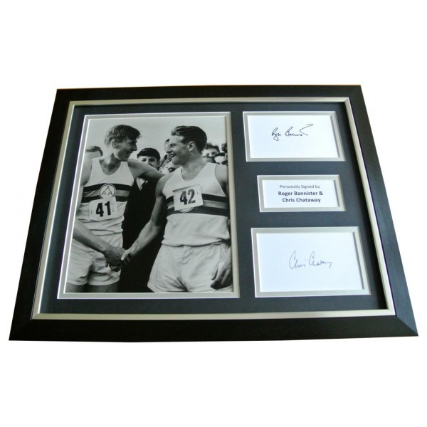 Roger Bannister & Chris Chataway Signed & FRAMED Photo Autograph Display & COA   PERFECT GIFT