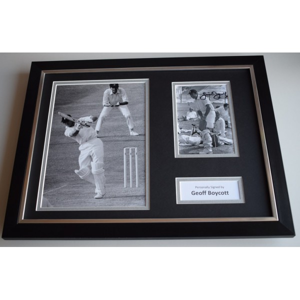 Geoff Boycott SIGNED FRAMED Photo Autograph 16x12 display England Cricket & COA AFTAL MEMORABILIA