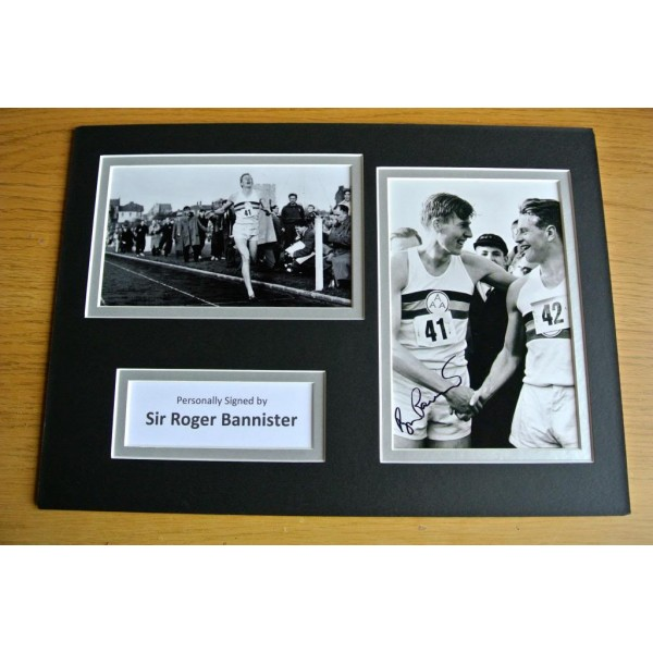 ROGER BANNISTER HAND SIGNED AUTOGRAPH A4 PHOTO DISPLAY 4 MINUTE MILE & COA