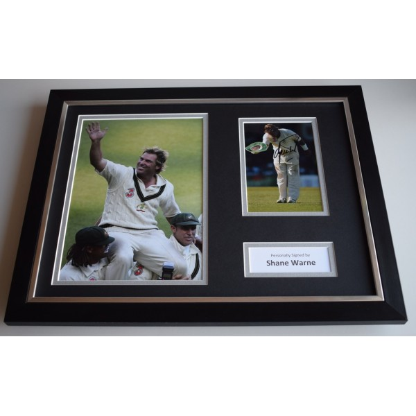 Shane Warne SIGNED FRAMED Photo Autograph 16x12 display Australia Cricket & COA SPORT MEMORABILIA