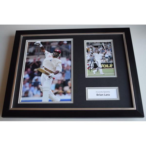Brian Lara SIGNED FRAMED Photo Autograph 16x12 display West Indies Cricket & COA AFTAL MEMORABILIA