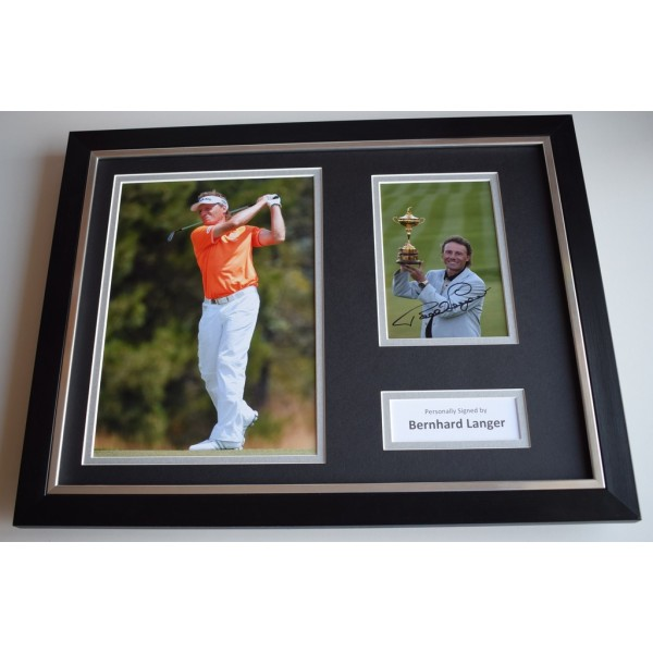 Bernhard Langer SIGNED FRAMED Photo Mount Autograph 16x12 display Golf AFTAL COA MEMORABILIA