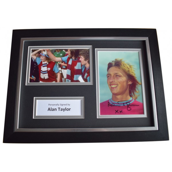 Alan Taylor Signed A4 FRAMED Autograph Photo Display West Ham Football  AFTAL  COA Memorabilia PERFECT GIFT