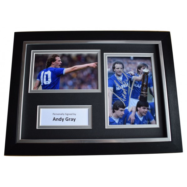 Andy Gray Signed A4 FRAMED Autograph Photo Display Everton Football AFTAL  COA Memorabilia PERFECT GIFT