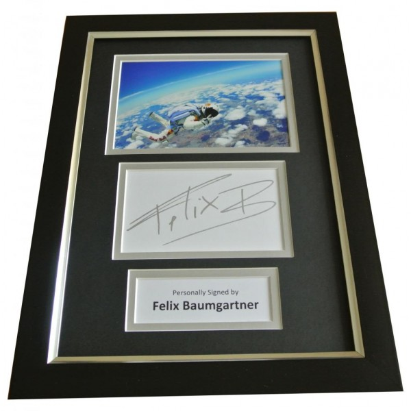 Felix Baumgartner Signed A4 FRAMED Photo Mount Autograph Display Red Bull & COA PERFECT GIFT