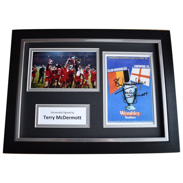 Terry McDermott Signed A4 FRAMED Autograph Photo Display Liverpool  AFTAL  COA Memorabilia PERFECT GIFT
