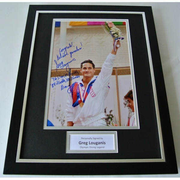 Greg Louganis SIGNED FRAMED Photo Autograph 16x12 display Platform Diving & COA  PERFECT GIFT