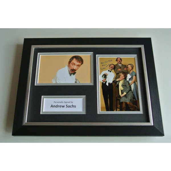 Andrew Sachs Signed A4 FRAMED photo Autograph display Fawlty Towers TV COA & AFTAL Memorabilia PERFECT GIFT