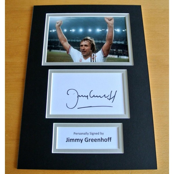 JIMMY GREENHOFF HAND SIGNED AUTOGRAPH A4 PHOTO DISPLAY MAN UNITED GIFT & COA PERFECT GIFT
