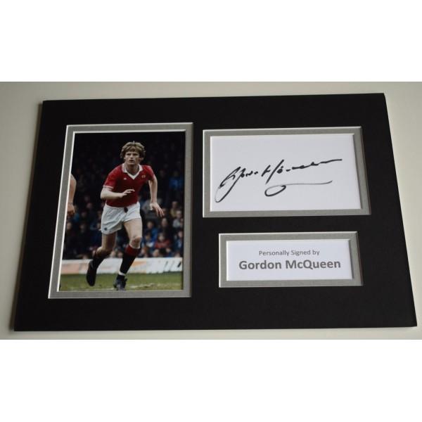 Gordon McQueen Signed Autograph A4 photo display Manchester United AFTAL COA AFTAL MEMORABILIA