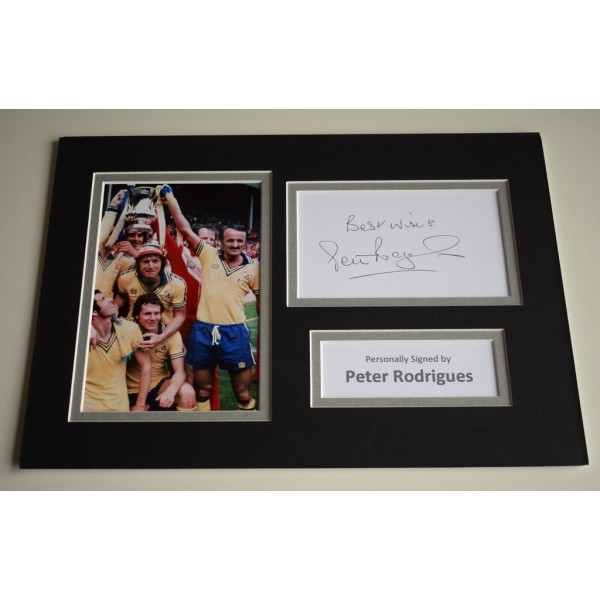 Peter Rodrigues Signed Autograph A4 photo display Southampton Football AFTAL COA Memorabilia
