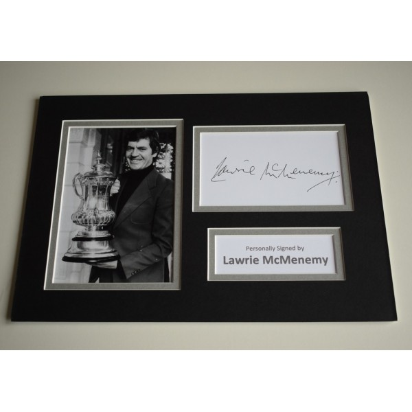 Lawrie McMenemy Signed Autograph A4 photo display Southampton Football AFTAL Memorabilia