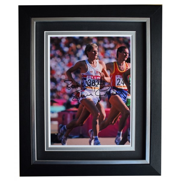 Steve Cram SIGNED 10x8 FRAMED Photo Autograph Display Olympic 1500 metres AFTAL  COA Memorabilia PERFECT GIFT