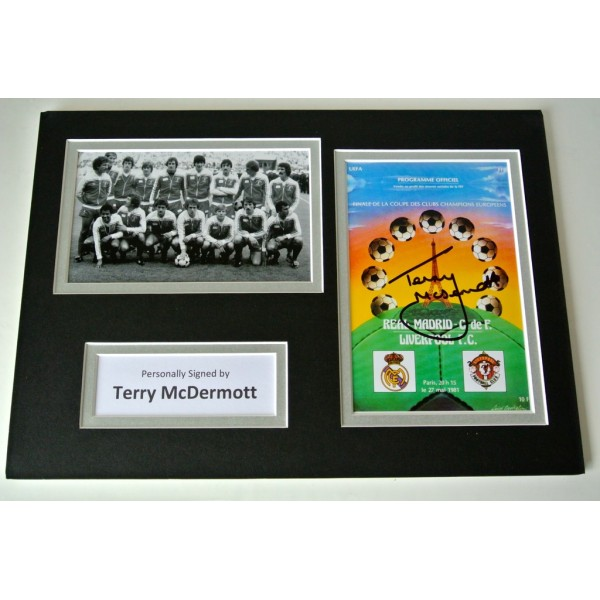 Terry McDermott Signed Autograph A4 photo display Liverpool 1981 European Cup   PERFECT GIFT