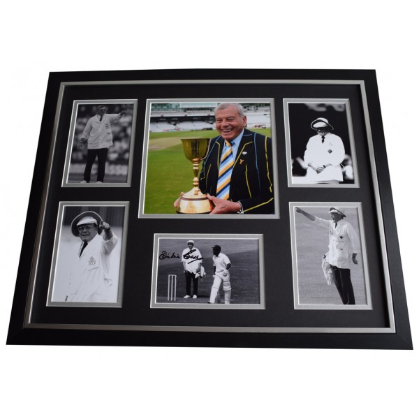 Harold Dickie Bird SIGNED Framed Photo Autograph Huge display Cricket AFTAL COA Umpire Memorabilia