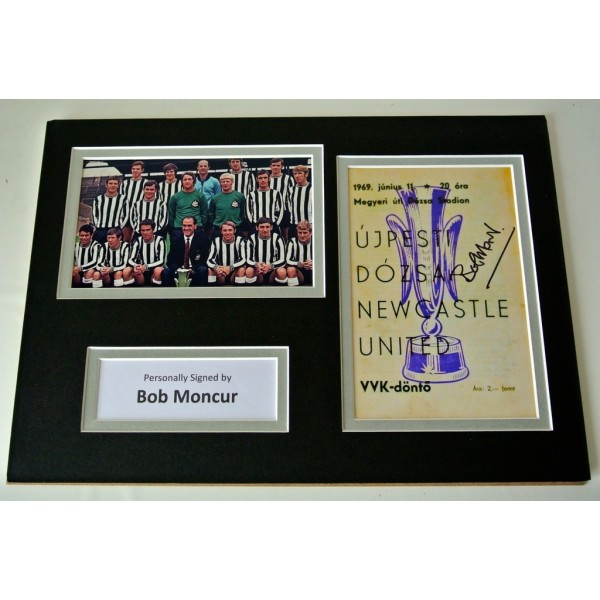 Bob Moncur Signed Autograph A4 photo display 1969 Fairs Cup Newcastle Utd & COA PERFECT GIFT