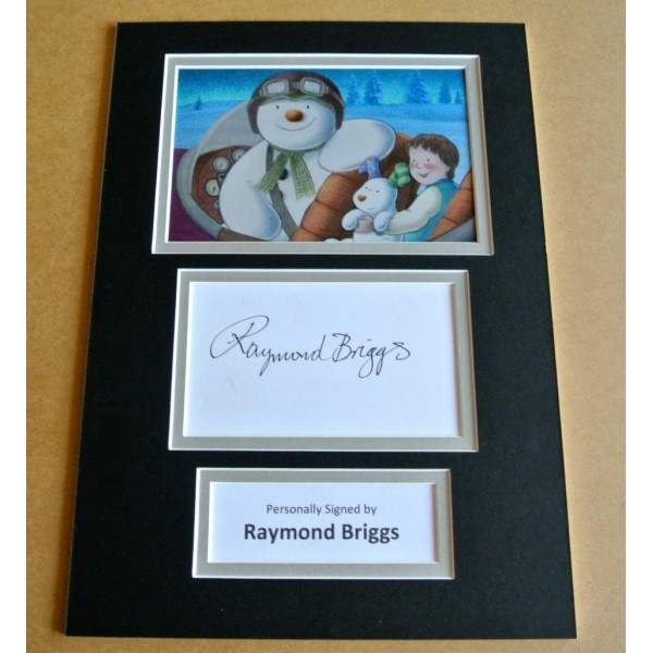 RAYMOND BRIGGS HAND SIGNED AUTOGRAPH A4 PHOTO DISPLAY SNOWMAN & SNOWDOG & COA PERFECT GIFT