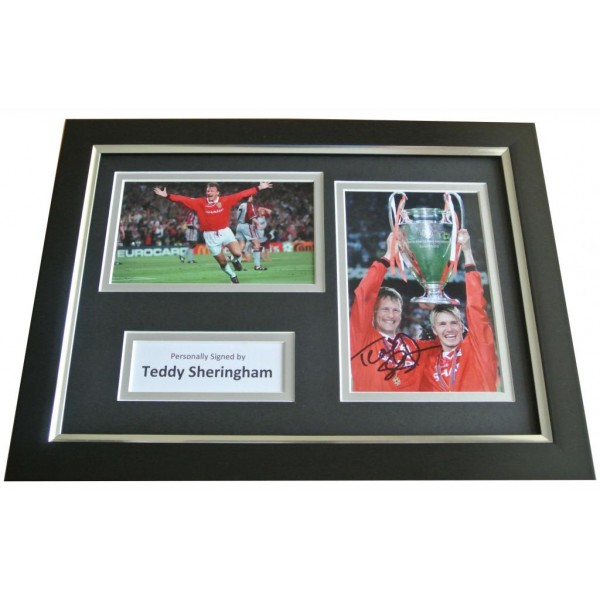 Teddy Sheringham Signed A4 FRAMED Photo Autograph Display Manchester United COA PERFECT GIFT