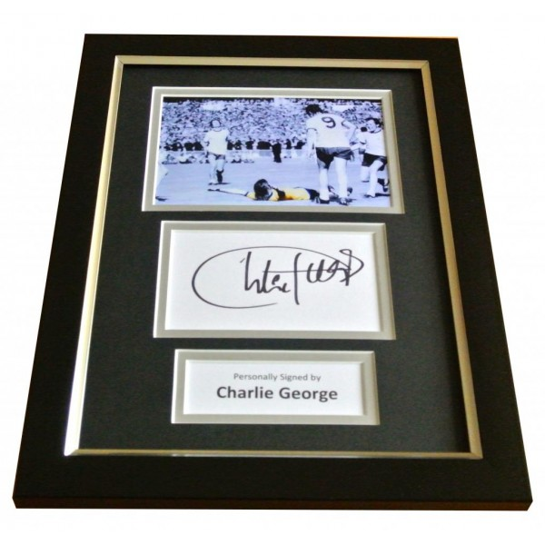 Charlie George Signed A4 FRAMED Photo Autograph Display Arsenal Football & COA PERFECT GIFT
